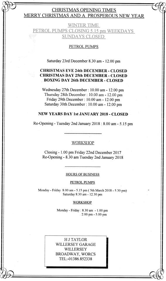 Willersey Garage Christmas hours 2017