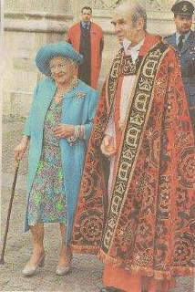 Canon Anthony Harvey with the Queen Mother
