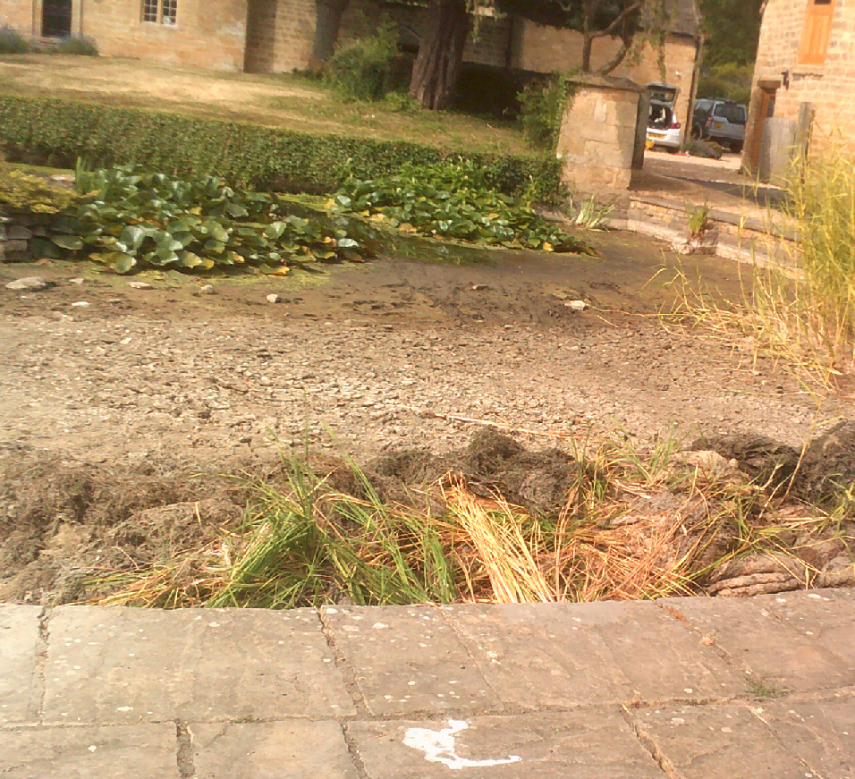Half of Willersey pond dried up