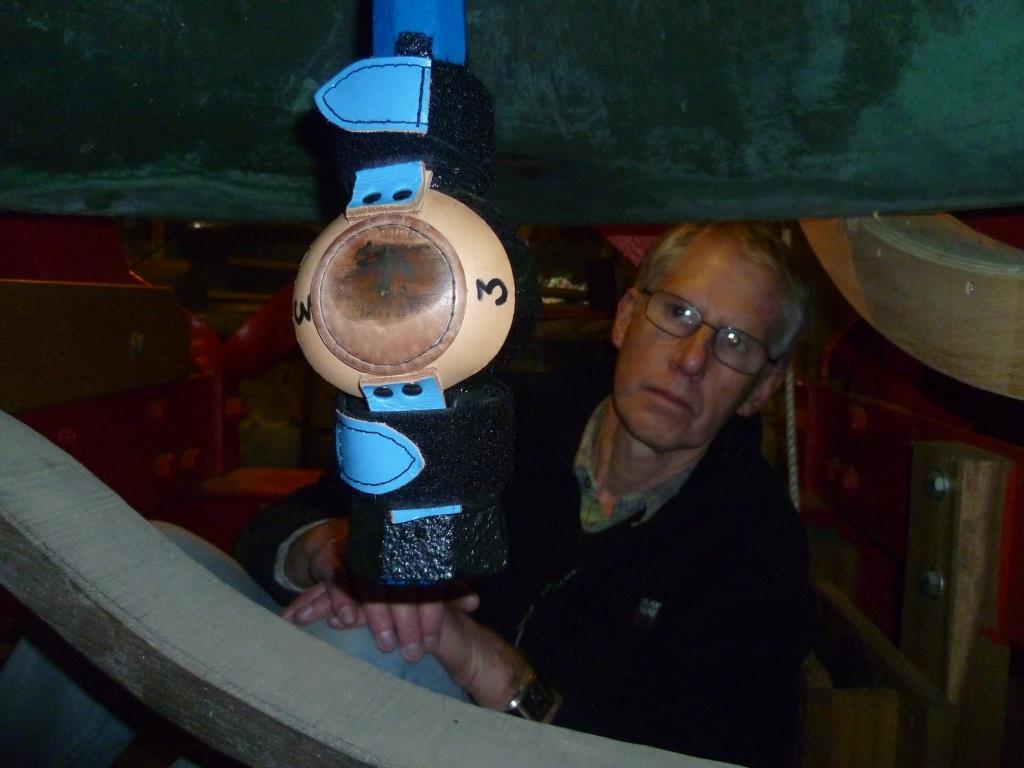 Willersey Bells leather muffler on bell clapper