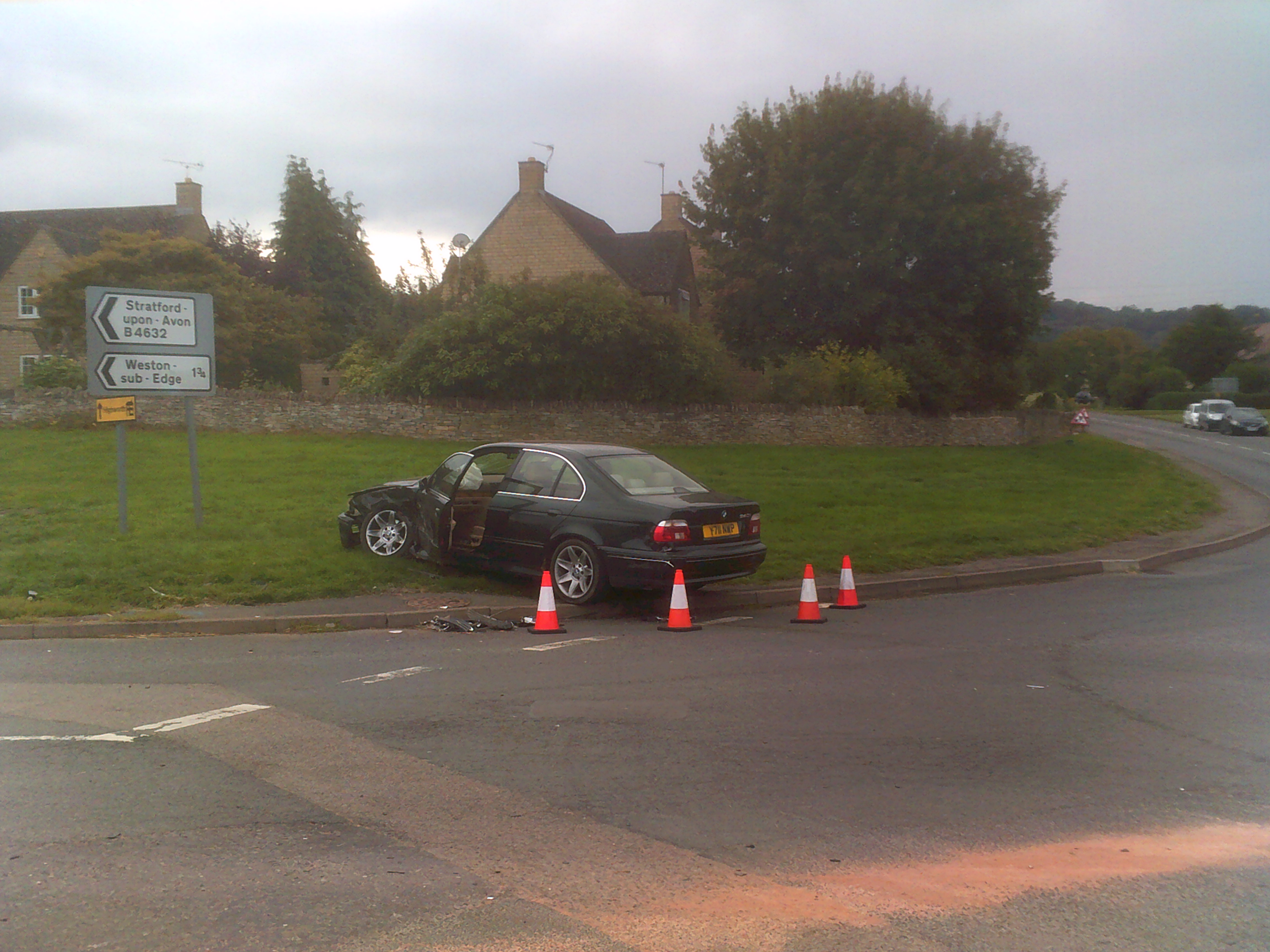 Wrecked car at Pike Roundabout in Willersey